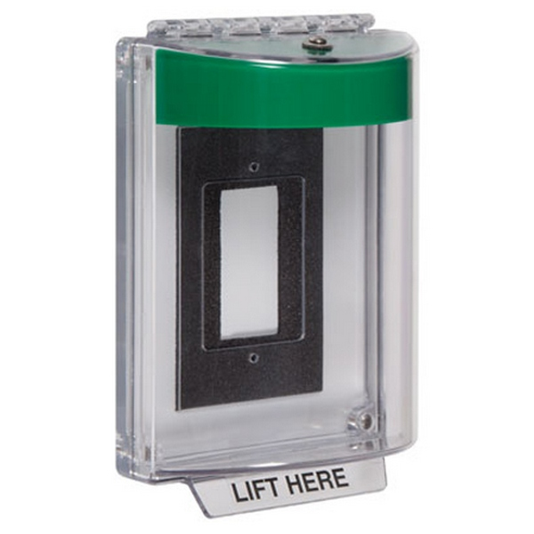 STI-13320NG STI Universal Stopper with Horn Enclosed Flush Back Box - No Label Included - Green