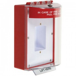 STI-13420FR STI Universal Stopper with Horn Enclosed Back Box Sealed Mounting Plate - Fire - Red
