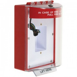 STI-13430FR STI Universal Stopper with Horn & Relay Enclosed Back Box Sealed Mounting Plate - Fire - Red