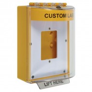 STI-13510CY STI Universal Stopper without Horn Enclosed Back Box Open Mounting Plate - Custom Label Included - Yellow