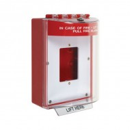 STI-13510FR STI Universal Stopper without Horn, Enclosed Back Box, Open Mounting Plate - Fire - Red