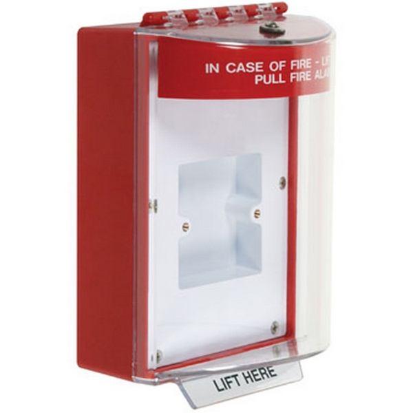 STI-13820FR STI Universal Stopper with Horn Enclosed Back Box & European Sealed Mounting Plate - Fire - Red